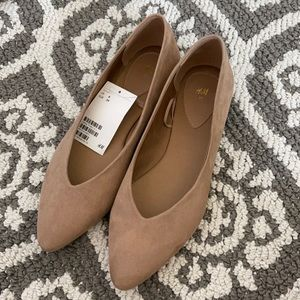 H&M tan suede pointed toe flats